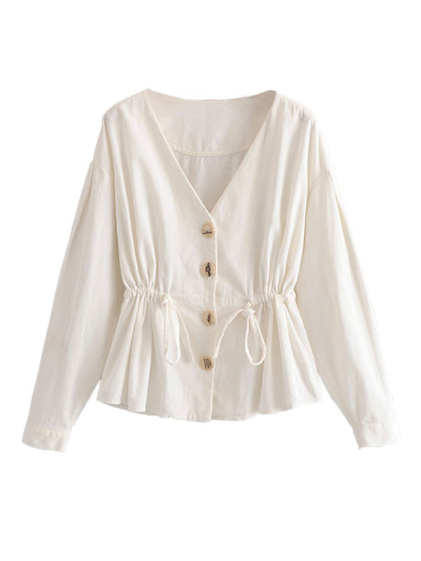 'Belle' Button Front Tied Waist Top
