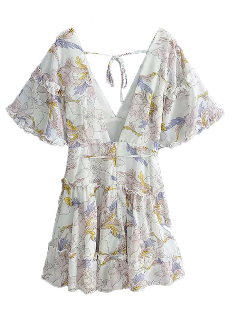 'Taffeta' Floral Open Back Flared Mini Dress