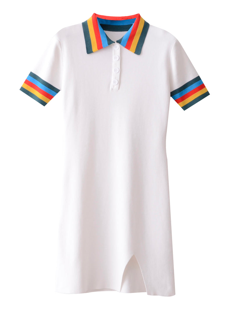 'Rana' Rainbow Polo Mini Dress (2 Colors)