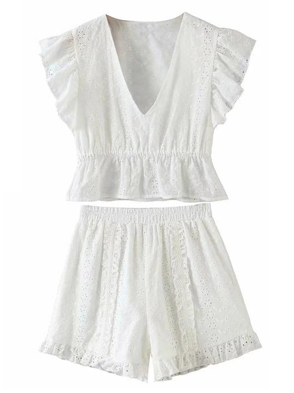 'Reese' Eyelet V-Neck Top and Shorts Set