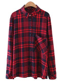 'Madelyn' Red Gingham Pocket Shirt