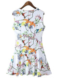 'Angela' White Floral Fit And Flare Dress