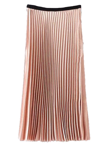 'Shona' Peach Pleated Silky Midi Skirt