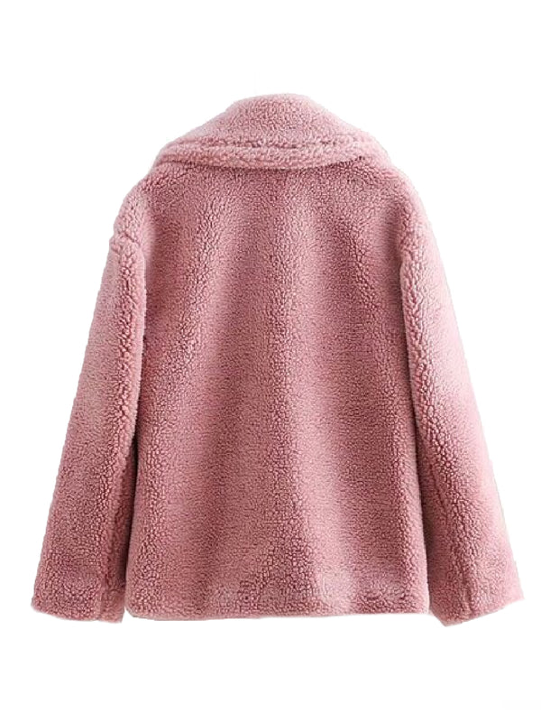 Goodnight Macaroon 'Valencia' Pink Teddy Bear Fleece Jacket Back