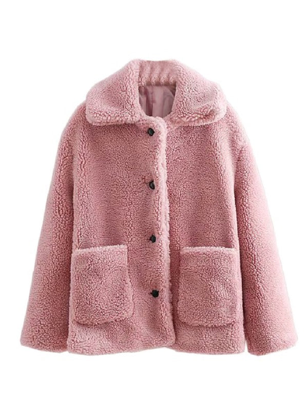 Goodnight Macaroon 'Valencia' Pink Teddy Bear Fleece Jacket Front