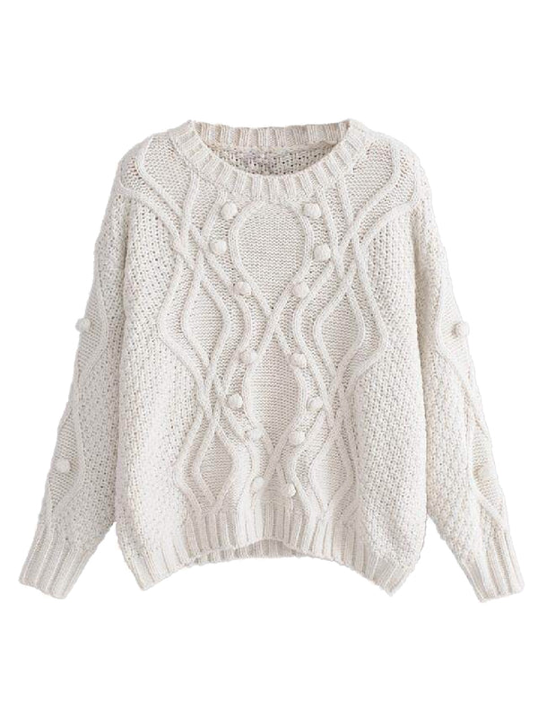 Goodnight Macaroon 'Jacinta' Pom Pom Cable-Knit Sweater Front