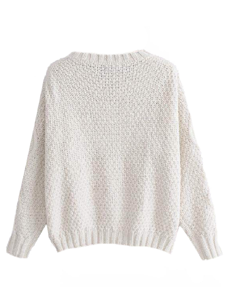 Goodnight Macaroon 'Jacinta' Pom Pom Cable-Knit Sweater Back