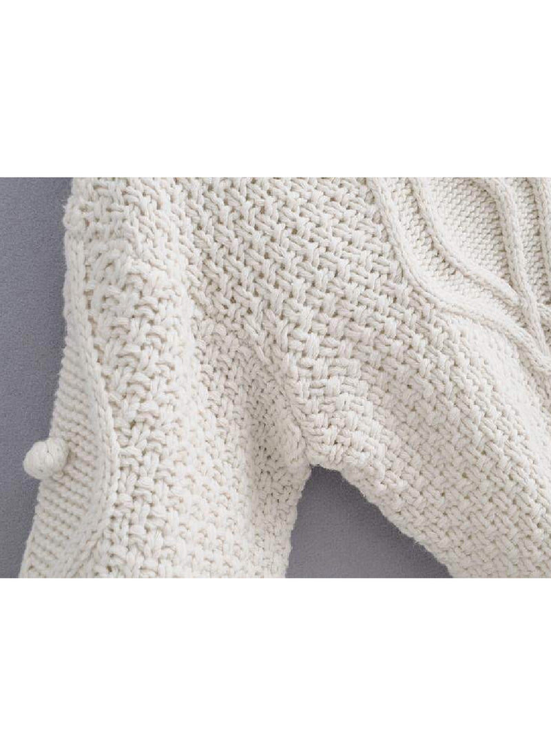 Goodnight Macaroon 'Jacinta' Pom Pom Cable-Knit Sweater Armpit