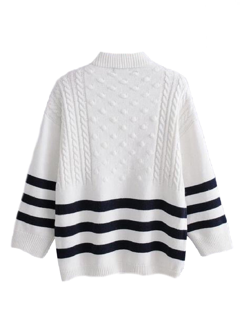 Goodnight Macaroon 'Griet' Striped Knitted Crew Neck Sweater White Back