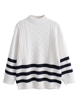 Goodnight Macaroon 'Griet' Striped Knitted Crew Neck Sweater White Front