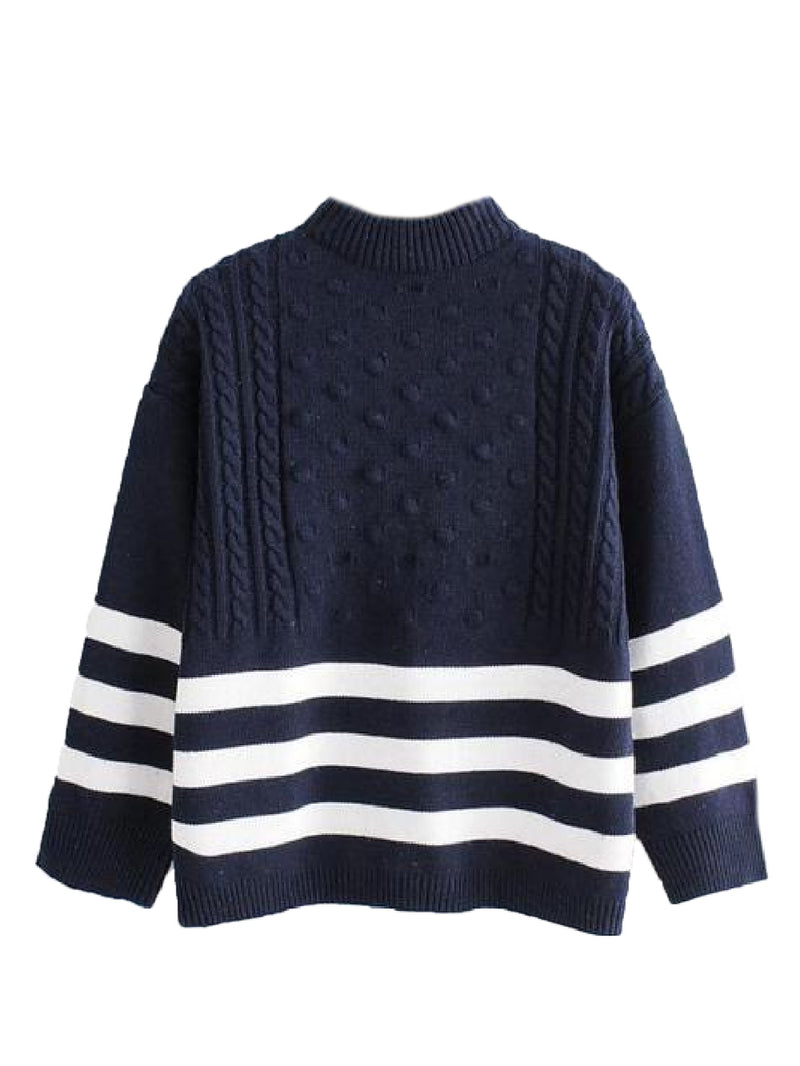 Goodnight Macaroon 'Griet' Striped Knitted Crew Neck Sweater Navy Blue Front