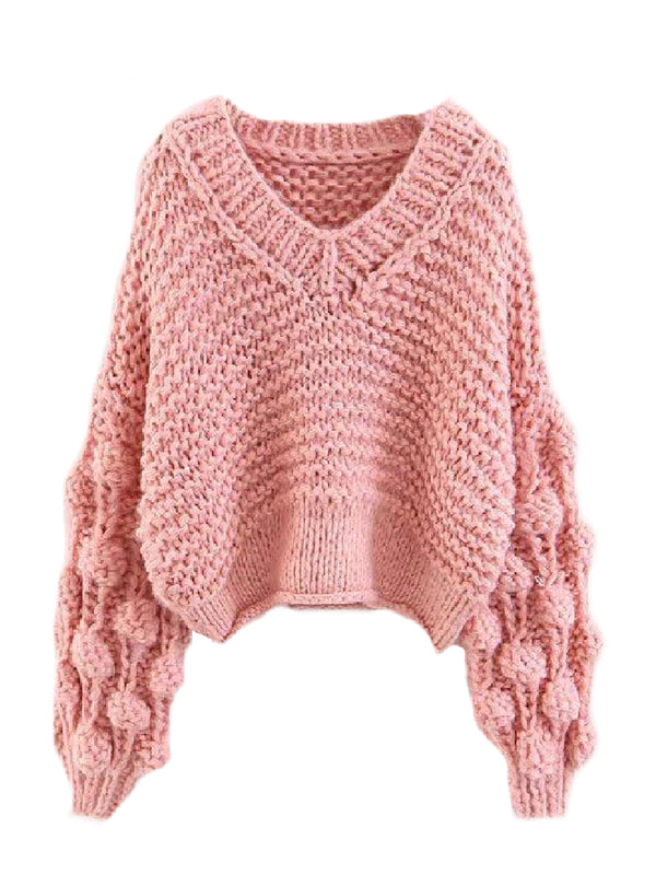 Goodnight Macaroon 'Kaitlyn' Pom Pom Cropped V Neck Sweater Pink Front
