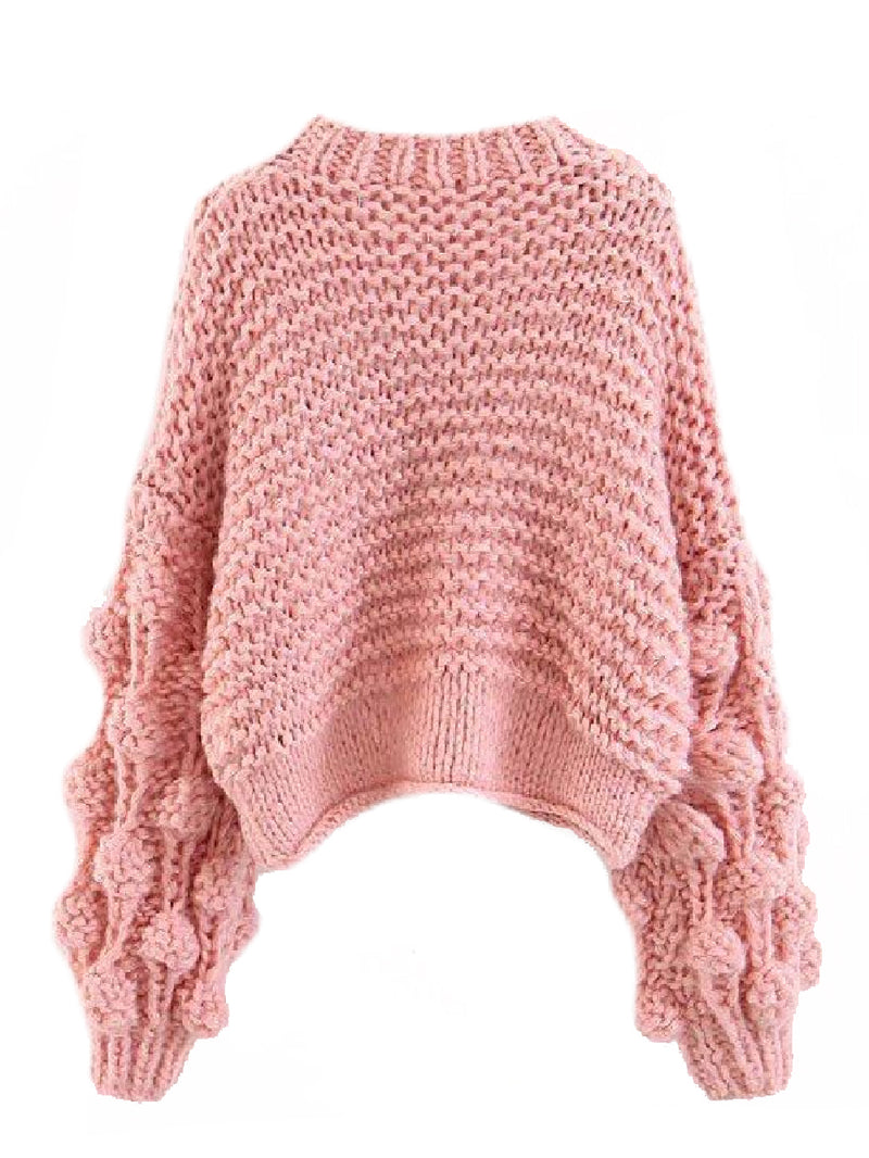 Goodnight Macaroon 'Kaitlyn' Pom Pom Cropped V Neck Sweater Pink Back