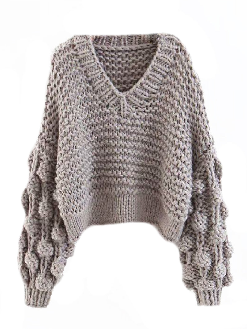 Goodnight Macaroon 'Kaitlyn' Pom Pom Cropped V Neck Sweater Grey Front