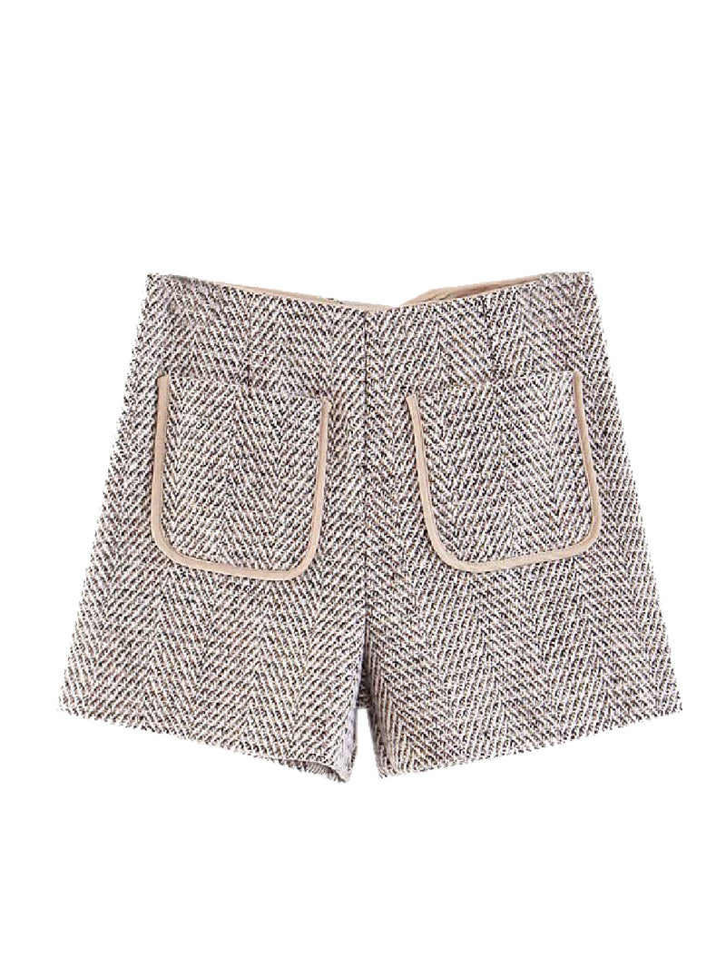 Goodnight Macaroon 'Maarit' Herringbone Tweed Shorts Front