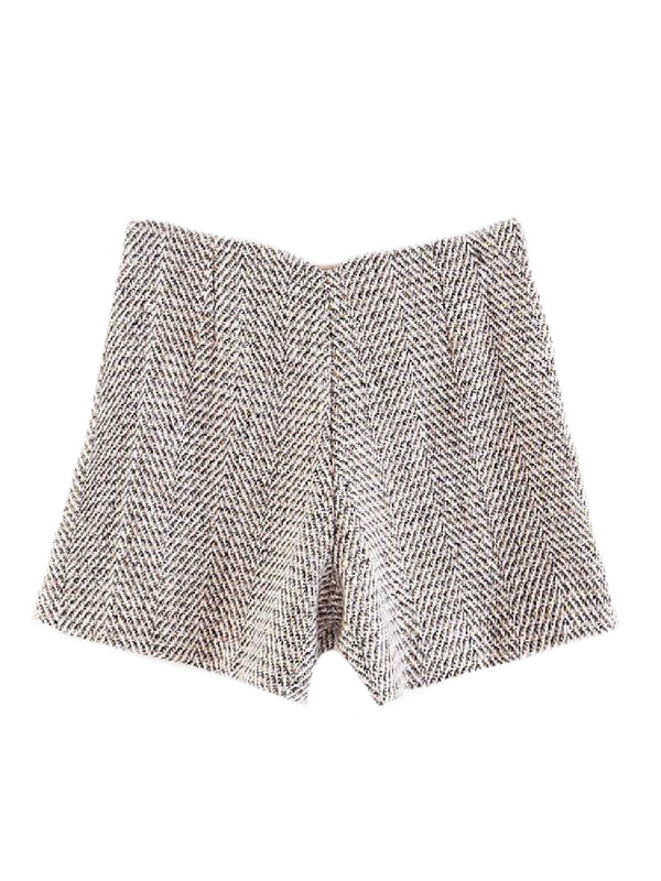 Goodnight Macaroon 'Maarit' Herringbone Tweed Shorts Back