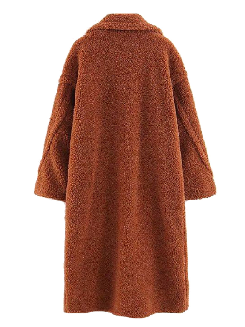 Goodnight Macaroon 'Sydney' Teddy Bear Fleece Coat Brown Back