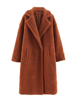 Goodnight Macaroon 'Sydney' Teddy Bear Fleece Coat Brown Front