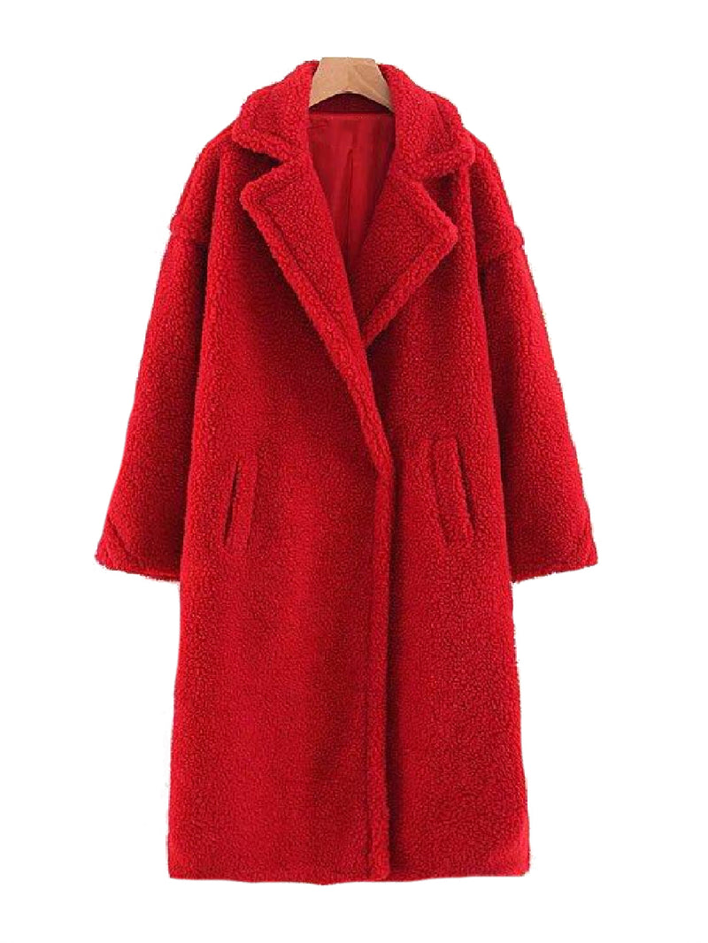 Goodnight Macaroon 'Sydney' Teddy Bear Fleece Coat Red Front