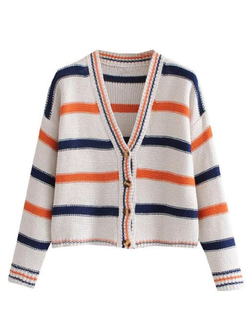 Goodnight Macaroon 'Yannis' Striped Knitted Button Front Cardigan Front