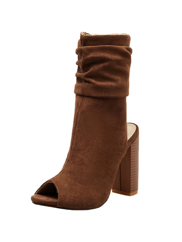 Goodnight Macaroon 'Martha' Ruched Peep Toe Chunky Heel Boots Front