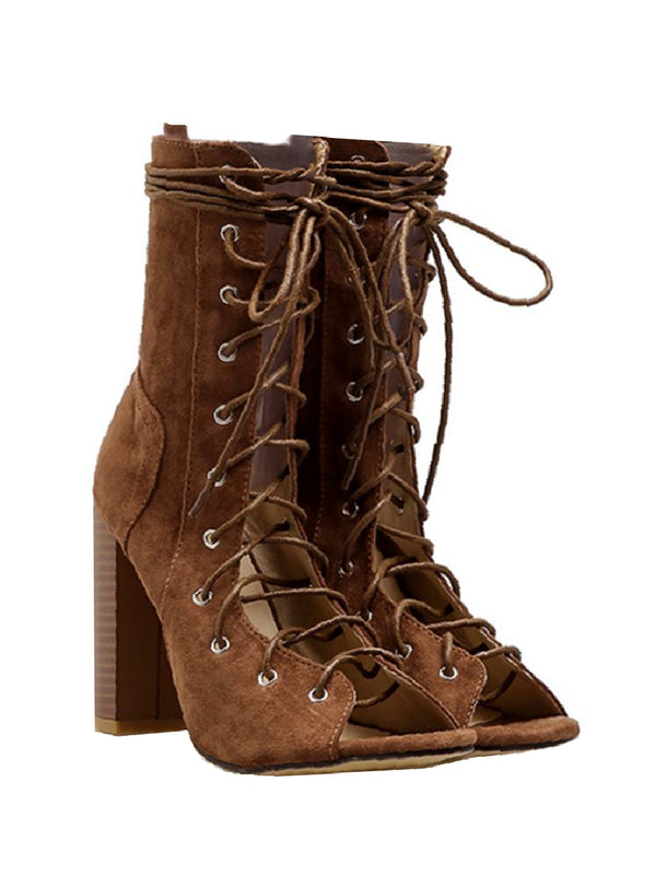 Goodnight Macaroon 'Essie' Lace Up Block Heeled Boots Pair
