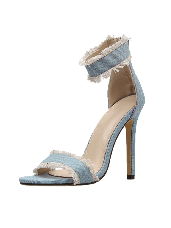 Goodnight Macaroon 'Della' Denim High Heeled Ankle Strap Sandals Front