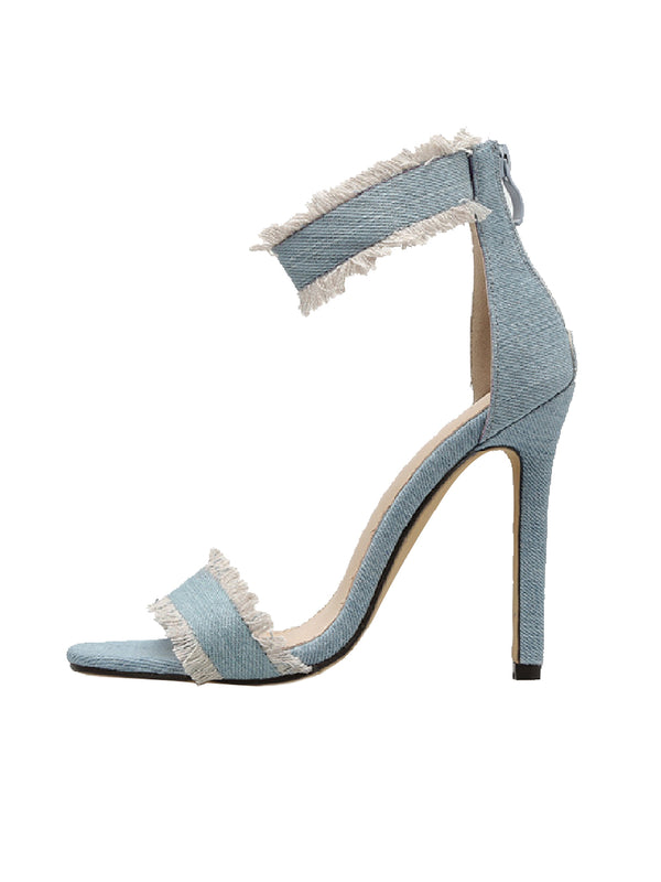 Goodnight Macaroon 'Della' Denim High Heeled Ankle Strap Sandals Side