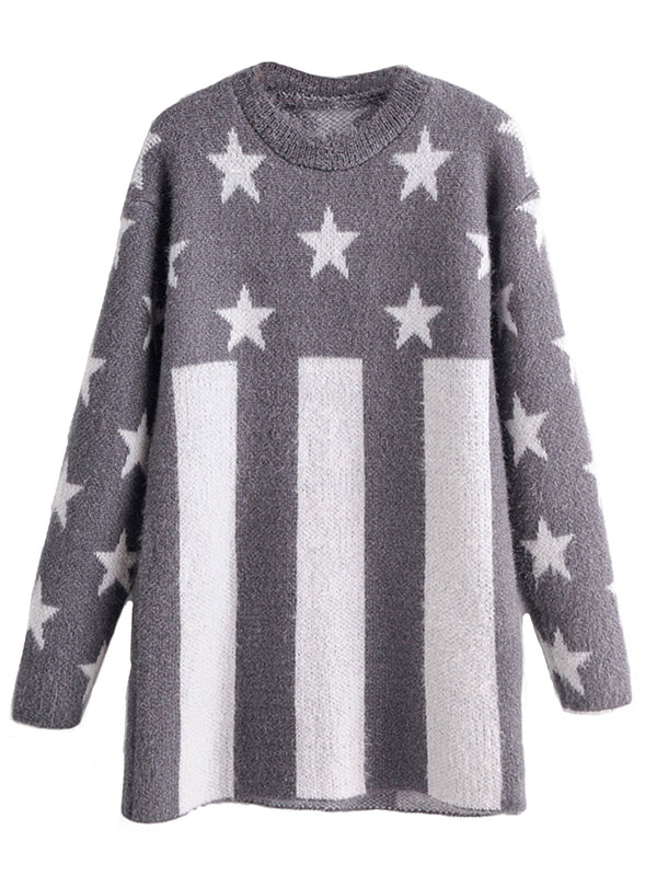 'Blakely' Stars and Stripes Crewneck Long Sweater (2 Colors)