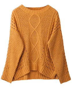 'Frances' Openwork Cable Knit Crew Neck Sweater (3 Colors)