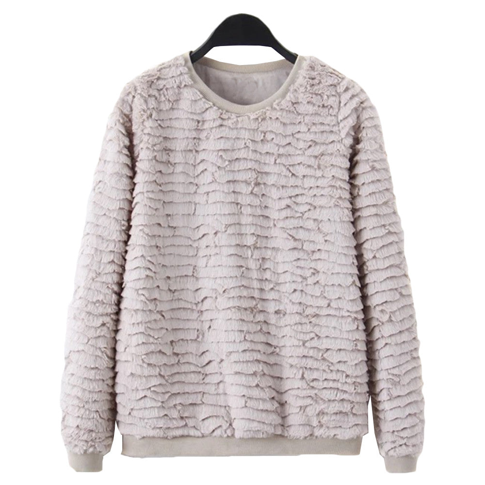 'Patrice' Grey Crewneck Fur Top - Goodnight Macaroon