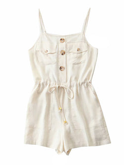 'Zack' Front Pockets Button-up Romper