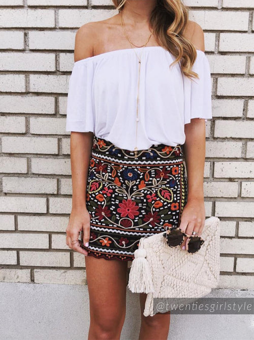 'Bailey' Embroidered Skirt
