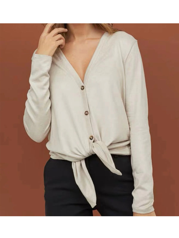 'Jeannette' Basic Button Front Tied Top