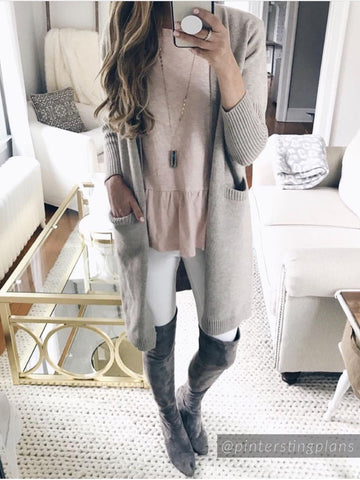 'Caroline' Grey Marl Open Wrap Slit Stripe Cardigan ( 2 Colors Available )