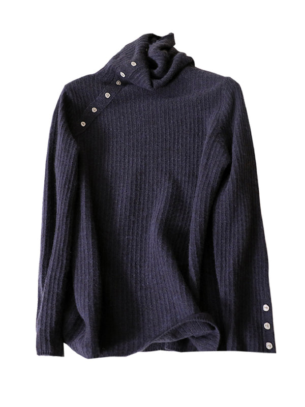 'Elsa' Cashmere Button Neck Sweater (2 Colors)
