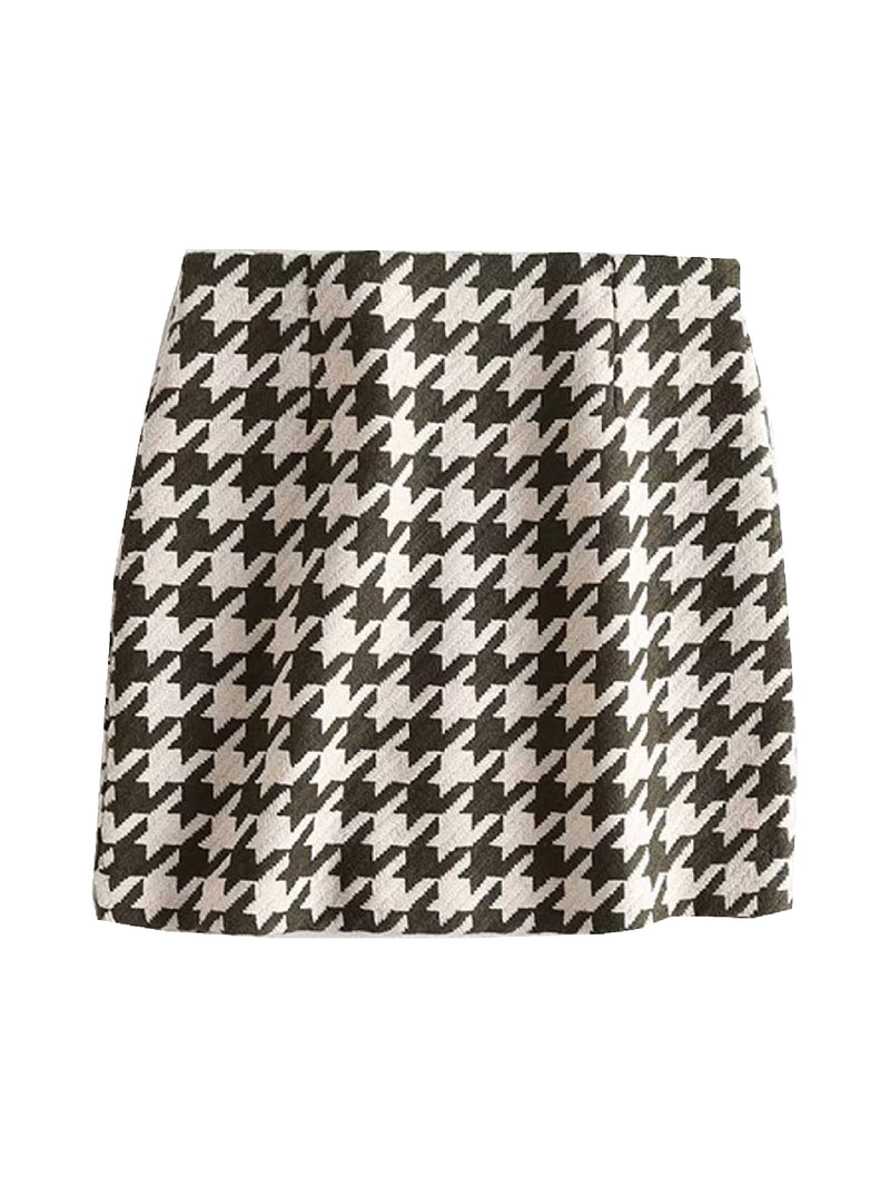 'Emily' houndstooth mini skirt (2 Colors)