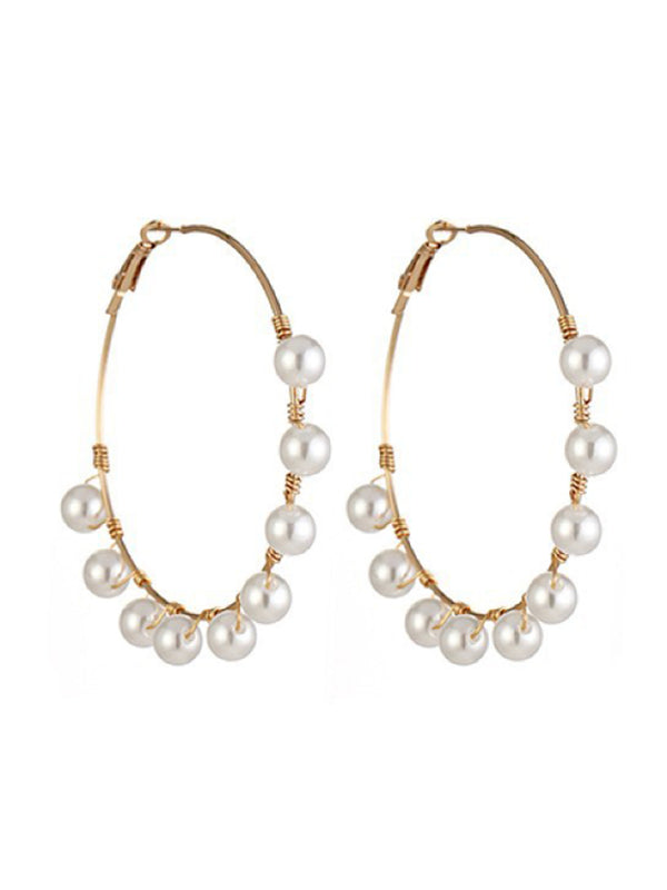 'Megan' Pearl Hoop Earrings