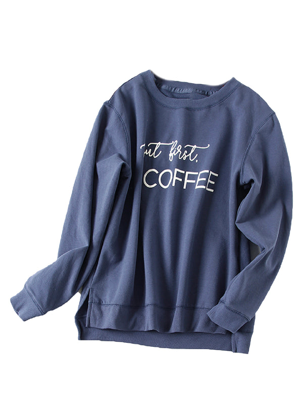 'Ava' Crewneck 'But first, Coffee' Letter Sweatshirt