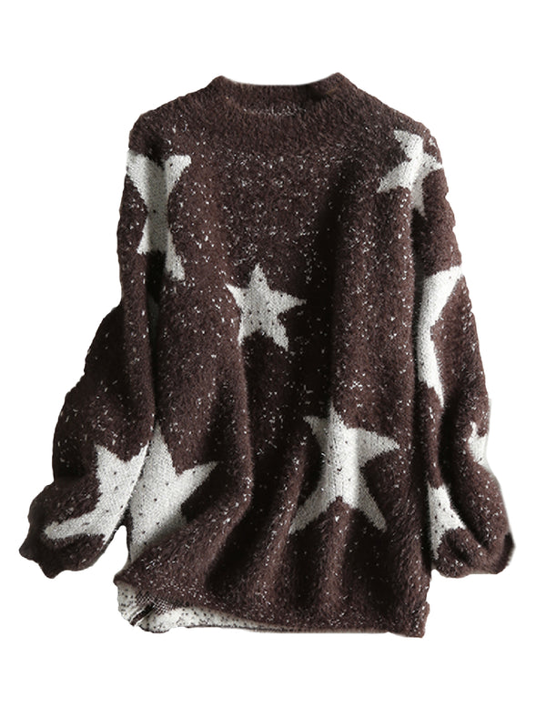 'Kimberly' Star Print Shinny Crewneck Sweater (2 Colors)
