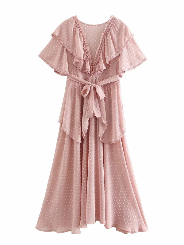 'Jenna' Chiffon Ruffle Midi Dress