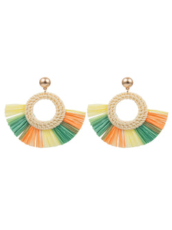 'Bessie' Colored Straw Raffia Tassel Drop Earrings (3 Colors)