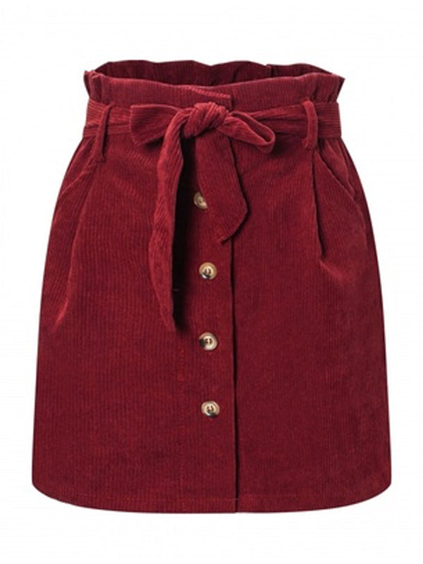 'Bobo' Corduroy Belted Paper Skirt (4 Colors)