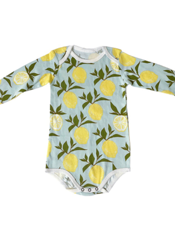 'Kindra' Fruit Pattern Long Sleeve Baby Bodysuits (2 Colors)