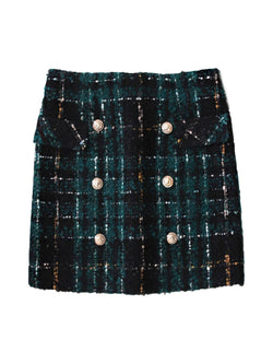 'Randi' Tweed Material Plaid Mini Skirt with Buttons