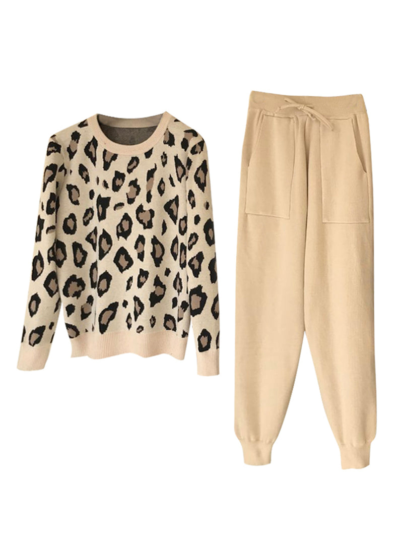 'Mayra' Leopard Knit Crewneck PJ Set (2 Colors)