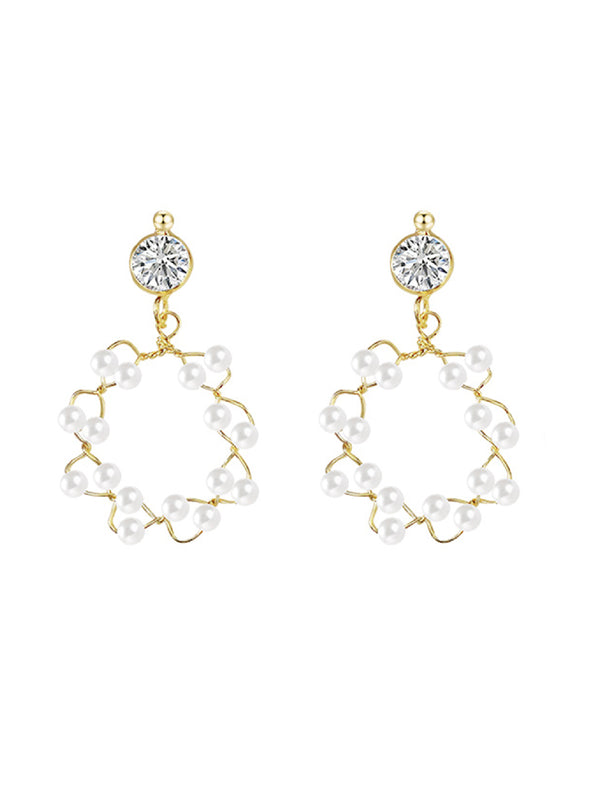 'Tracy' Hollow Circle Pearl Earrings
