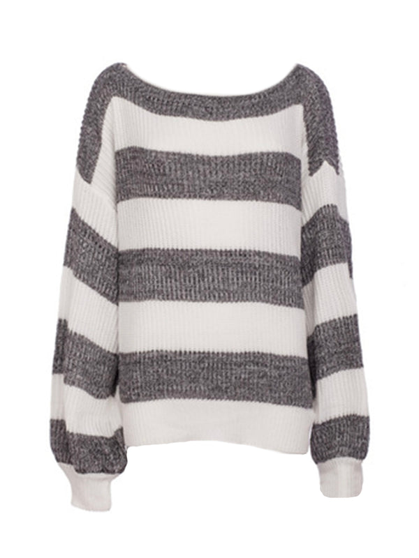 'Tracy' Loose Striped Knit Sweater (3 Colors)