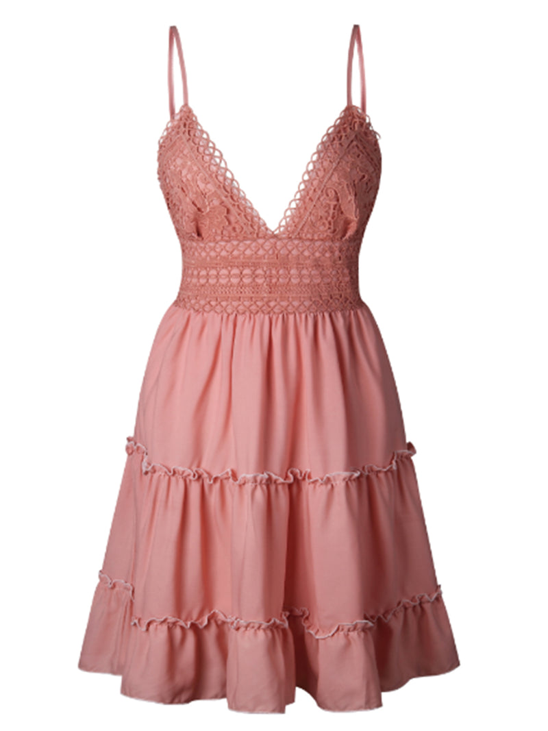 'Kim' Lace Crochet Back Tied Cami Dress (5 Colors)