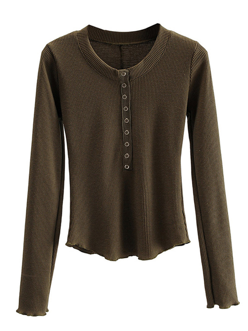 'Kanja' Waffle Knit Long Sleeves Buttoned Top ( 6 Colors)